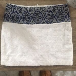 Zara white mini skirt with blue & black stitching